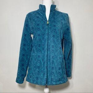 Woolrich Andes Fleece Printed Mineral Blue Jacket